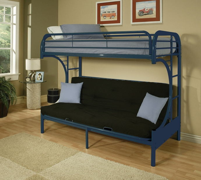 "Eclipse collection ""c"" shaped style twin over full futon blue finish tubular metal design bunk bed"