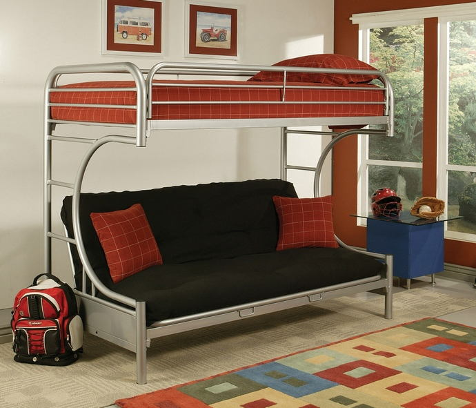 "Eclipse collection ""c"" shaped style twin over full futon silver finish tubular metal design bunk bed"