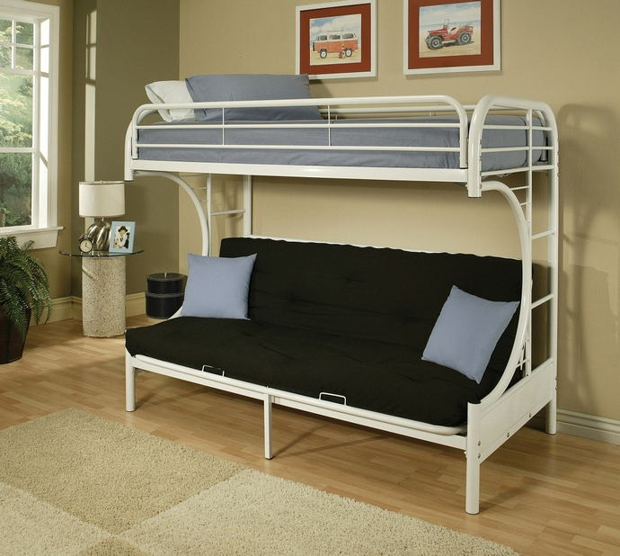 """Eclipse collection """"c"""" shaped style twin over full futon white finish tubular metal design bunk bed"""