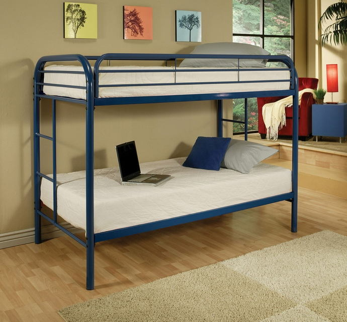 Thomas collection twin over twin blue finish tubular metal design bunk bed