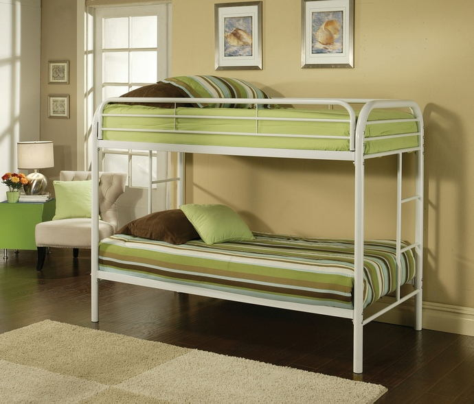 Thomas collection twin over twin white finish tubular metal design bunk bed