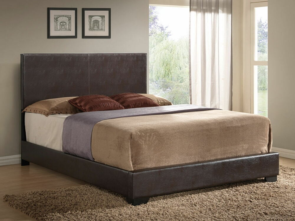 Ireland collection brown leather like vinyl padded headboard footboard and rails queen size bed set