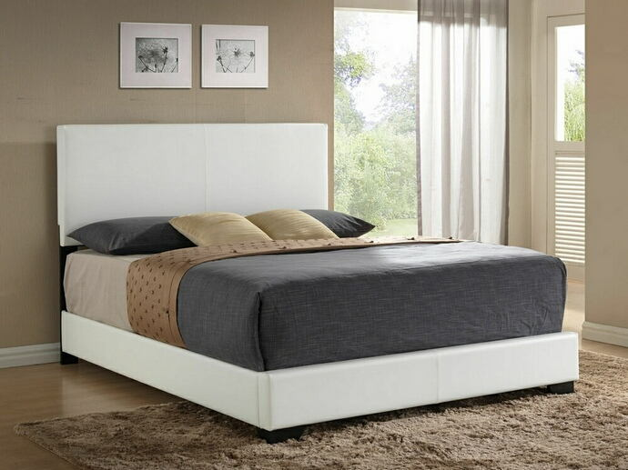 Ireland collection white leather like vinyl padded headboard footboard and rails queen size bed set