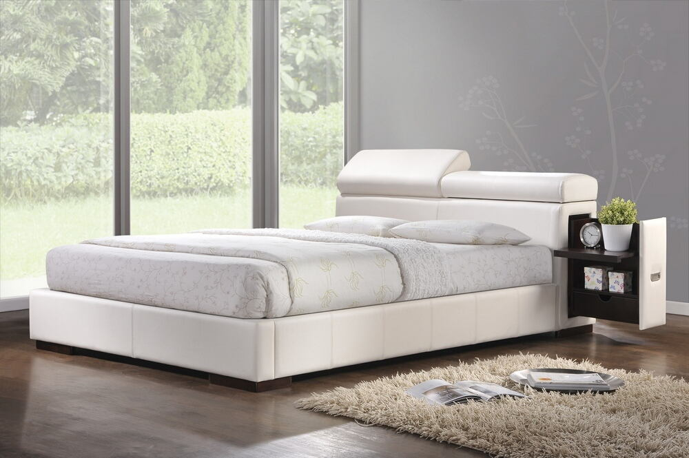 Acme 20420QB Manjot white leather like vinyl padded queen size platform bed set