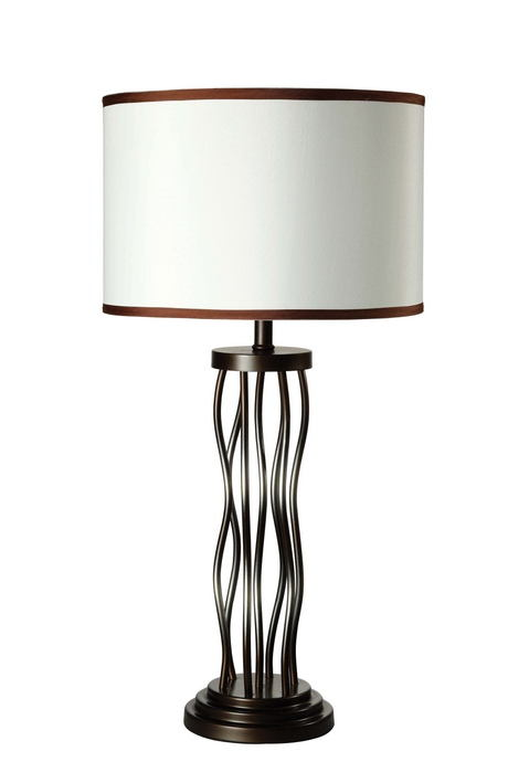 Acme 40070 Jared antique bronze finish metal table lamp with drum shade with dark trim