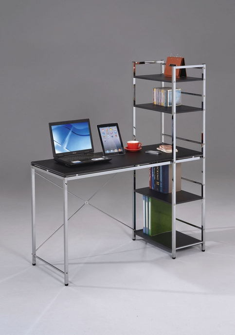 Acme 92074 Elvis Chrome Finish Metal Frame And Black Top Computer Desk Shelves On The Side
