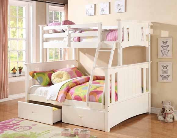Asia Direct 8425 Jerome white finish wood twin over full bunk bed set with panel style head and foot boards