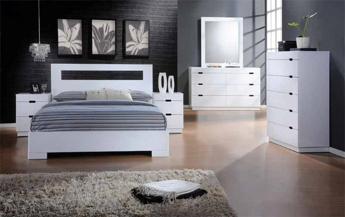 Asia Direct Vista 5 pc vista glossy white finish wood modern style headboard queen bedroom set