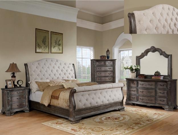 B1120-88 4 pc Sheffield II antique grey finish wood padded headboard bedroom set