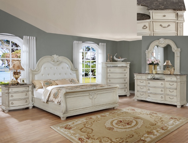 Crown mark B1600 Q 5 pc Yorkshire collection antyique white finish wood headboard bedroom set with marble tops