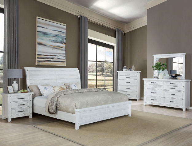 B1830 4 pc A & J Homes studios Maybelle white sands antique rustic wood finish queen bedroom set