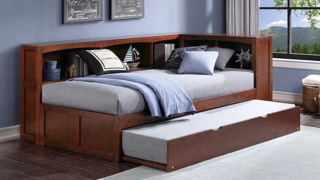 B2013BCDC-1BCR Harriett bee frankie dark cherry finish wood corner bookcase twin bed with trundle