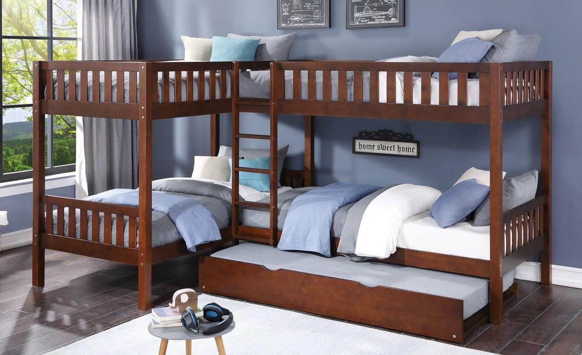 B2013CNDC-1R Mack & Milo orion quadruple twin bed twin/twin over twin/twin dark cherry finish wood bunk bed