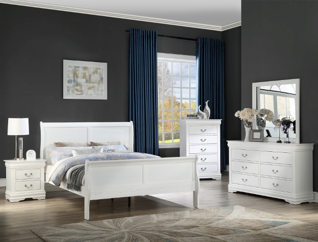 B3650 4 pc Louis Philip white finish wood sleigh queen bedroom set