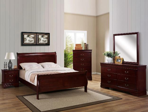 B3800 5 pc Louis Philip cherry finish wood sleigh queen bedroom set