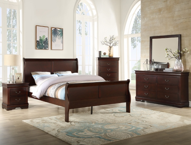 B3850 4 pc Louis Philip cherry finish wood sleigh queen bedroom set