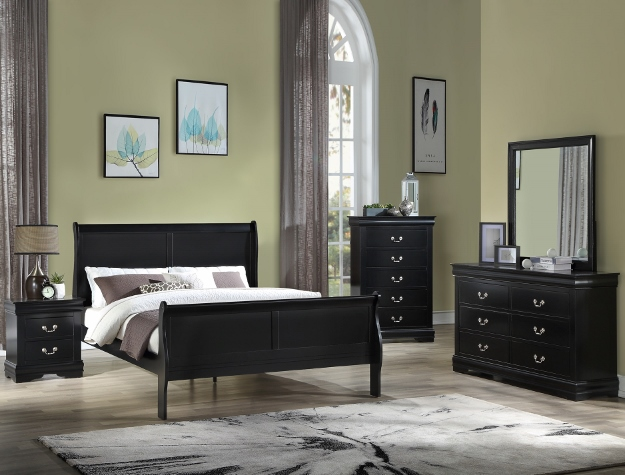 B3950 4 pc Louis Philip black finish wood sleigh queen bedroom set