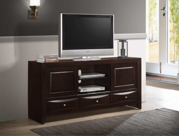 B4260-7 Darby home co emily dark cherry finish wood tv stand console with drawers