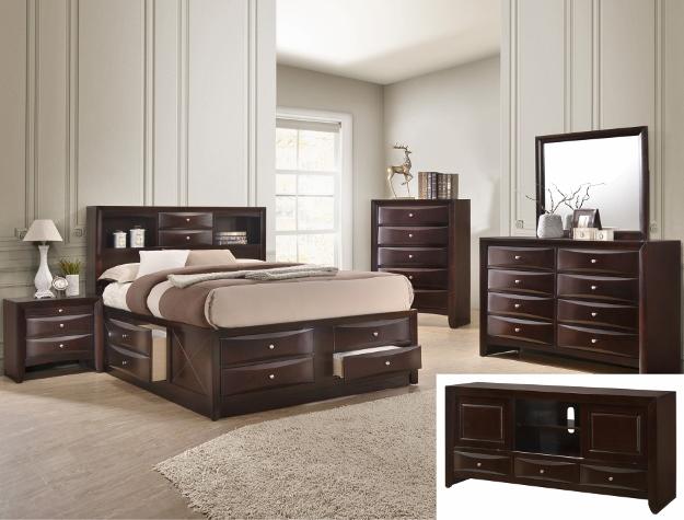 B4265 4 pc A & J Homes studios emily dark cherry wood finish design headboard queen bedroom set with storage drawers