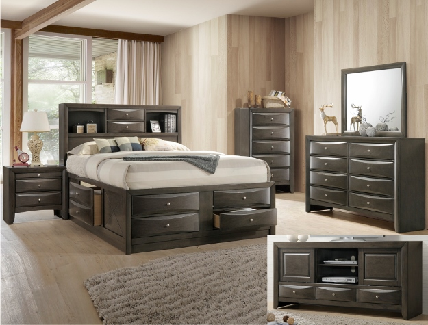 B4275 4 pc A & J Homes studios emily grey wood finish design headboard queen bedroom set with storage drawers