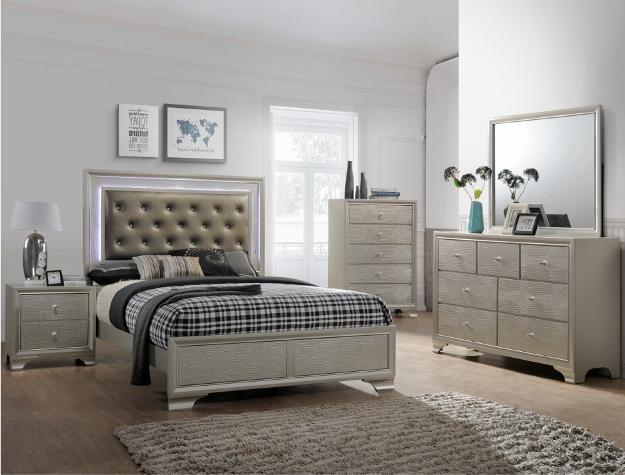 B4300 4 pc Lyssa champagne wood finish wood queen LED bedroom set