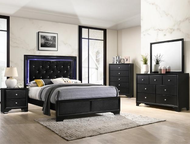 B4350 4 pc Micah modern black finish wood padded headboard LED bedroom set