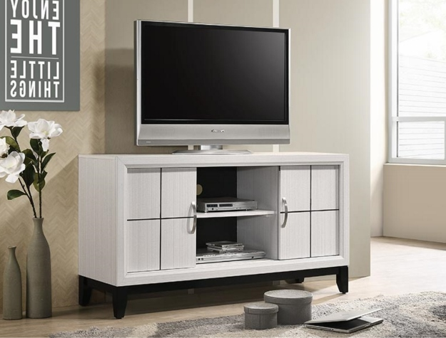 B4610-8 Darby home co Akerson white finish wood tv stand console