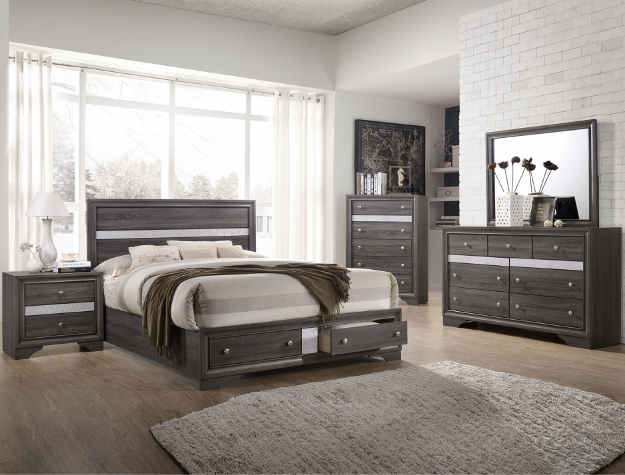 B4650 5 pc Regata grey finish wood bedroom set with footboard drawers