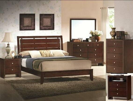 5 pc. evan contemporary style brown cherry wood finish platform queen bedroom set