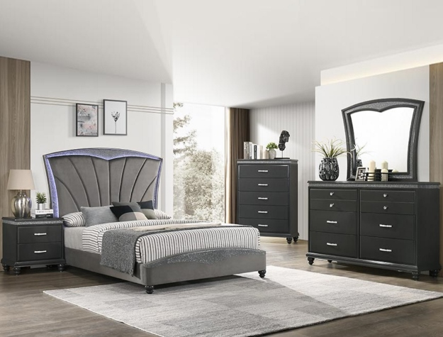 B4790 4 pc A & J homes studio frampton dark finish wood upholstered headboard design queen bedroom set