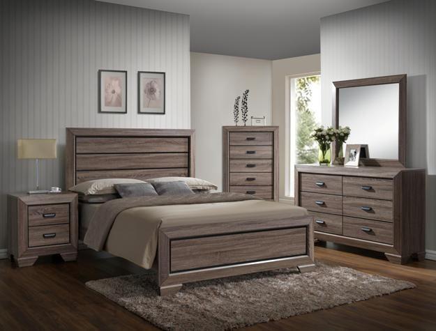 5 pc farrow medium finish wood with wood grain look queen bedroom set