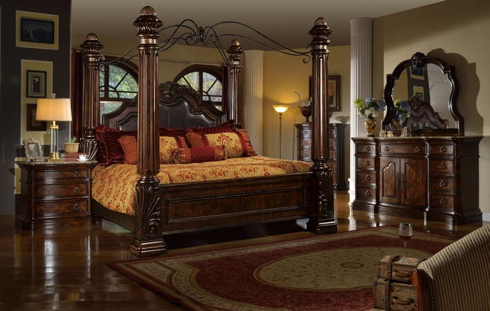 5 Pc Tuscan Ii Collection Medium Wood Finish With Bonded Leather Tufted  Padded Headboard Four Poster Canopy Bedroom Set With Marble Tops