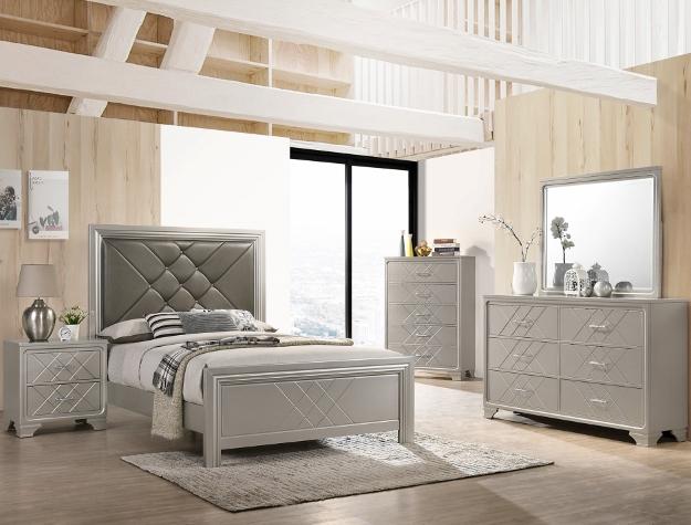 B6970 4 pc AJ homes Phoebe silver wood finish wood queen upholstered headboard bedroom set