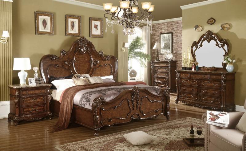 Mc Ferran B7189 5 pc Sopressa dark cherry brown finish wood queen bedroom set