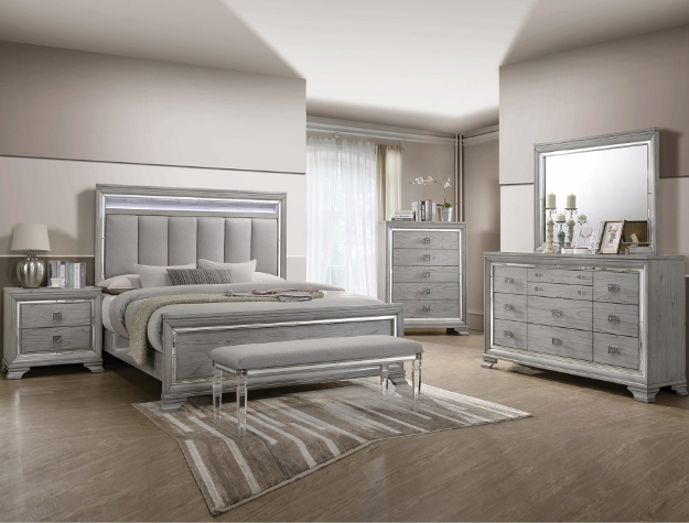 5 pc aria collection black wood finish with mirror edge design headboard queen bedroom set
