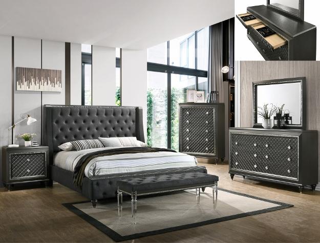 B7900 4 pc A & J homes studio giovani gray metallic finish wood carved design queen bedroom set