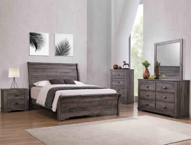 5 pc. serena espresso wood finish queen platform bedroom set