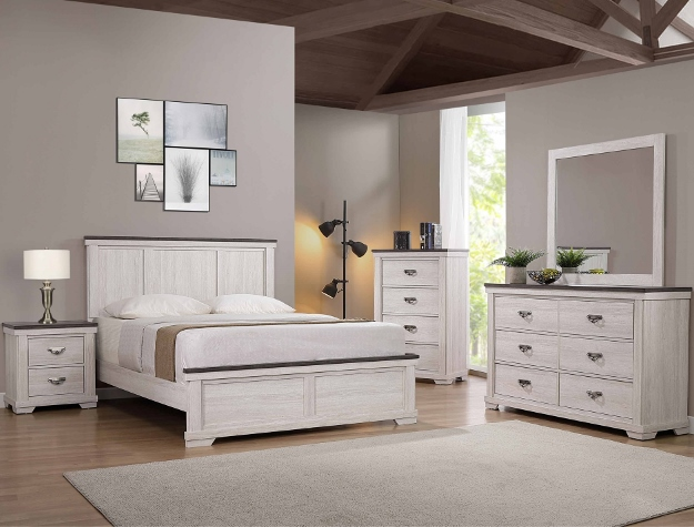B8180 4 pc A & J homes studio Leighton rustic weathered finish wood queen bedroom set