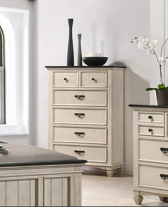 B9100-4 A & J homes studio sawyer rustic weathered finish wood chest of drawers
