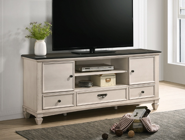 B9100-7 A & J homes studio sawyer rustic weathered finish wood TV stand console