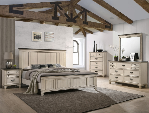 5 pc hannah white finish wood with paneled look queen bedroom set