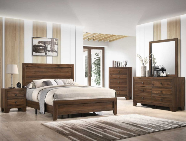 B9250 4 pc A & J Homes Studios hopkins cherry panel look wood grain queen bedroom set