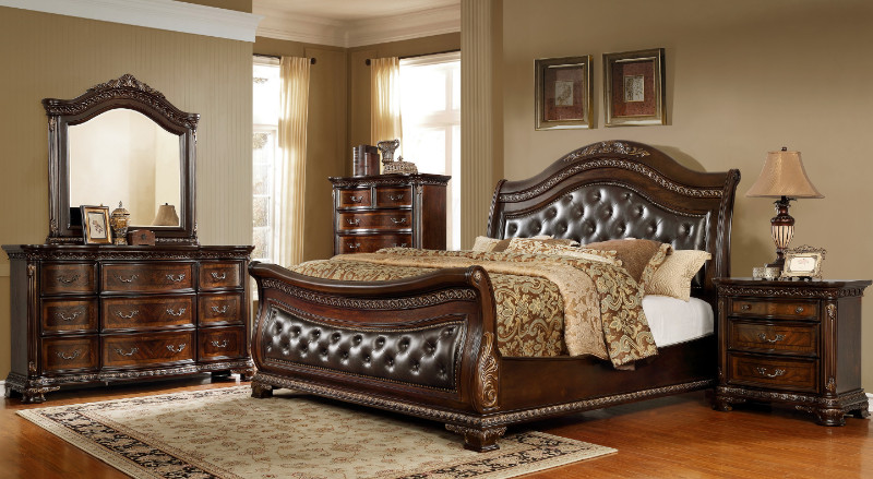5 pc Astoria grand medellin dark brown finish wood tufted queen sleigh bedroom set