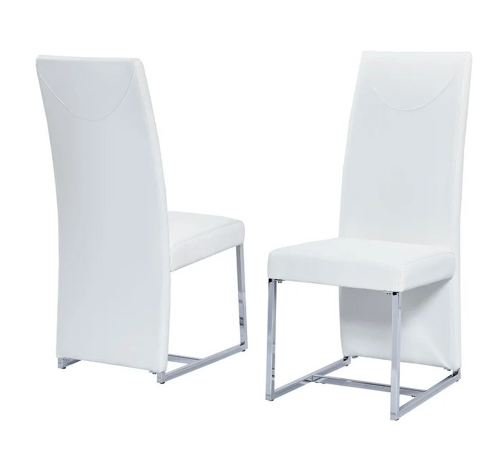 Best master BA222WH-2PK Set of 2 Orren ellis Broadway white faux leather high back chrome modern dining chairs