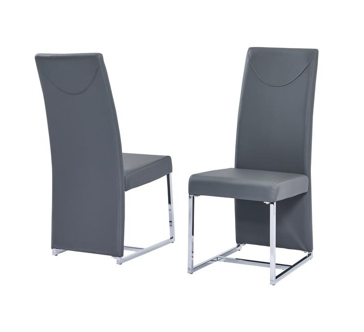Best master BA222GY-2PK Set of 2 Orren ellis Broadway gray faux leather high back chrome modern dining chairs