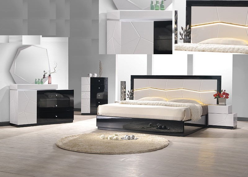 Best Master BERLIN 4 pc berlin black and white lacquer finish wood modern  style queen bed set