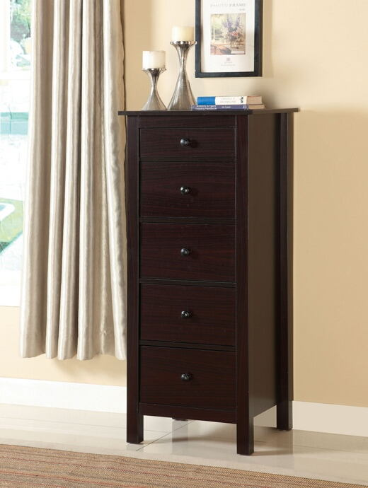 Launces collection contemporary style espresso finish wood storage chest with multiple drawers