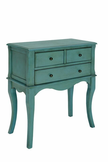 CM-AC137TL Sian antique teal finish wood hallway storage cabinet console with cabriole legs