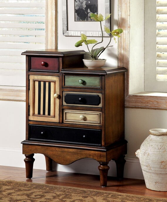 Neche collection vintage style antique walnut finish wood multiple drawer hall console table