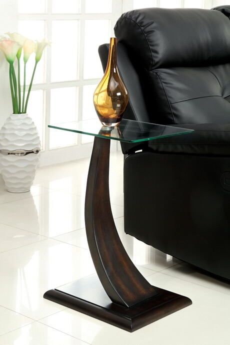 Valon collection contemporary style dark walnut finish curved wood and glass top side table